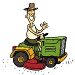 man riding a tractor